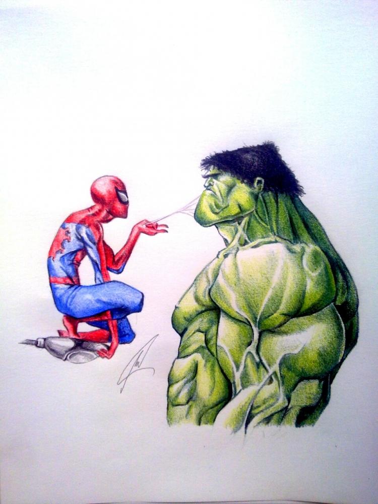 Hulk, Spider-Man by Esus